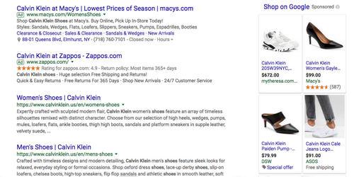 Calvin Klein search ads on Google