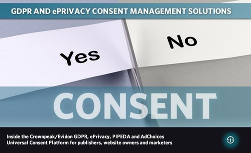 GDPR and ePrivacy consent management solutions inside the Crownpeak Evidon GDPR ePrivacy PIPEDA and AdChoices Universal Consent Platform for publishers website owners and marketers