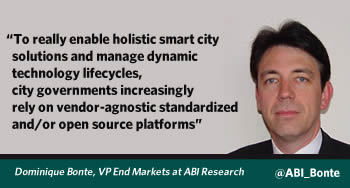 Dominique Bonte, VP End Markets at ABI Research, on the increasing reliance of city governments on standards and open source - picture source Twitter - courtesy ABI