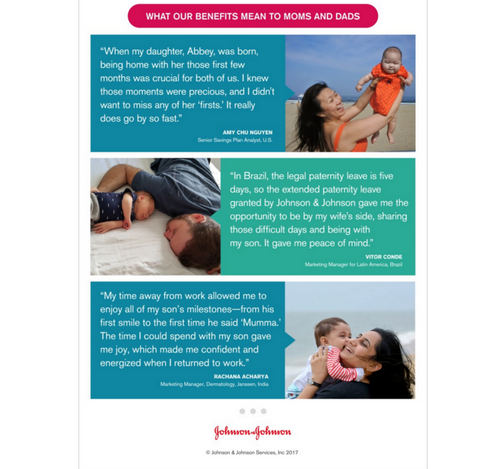 Johnson & Johnson parental leave content