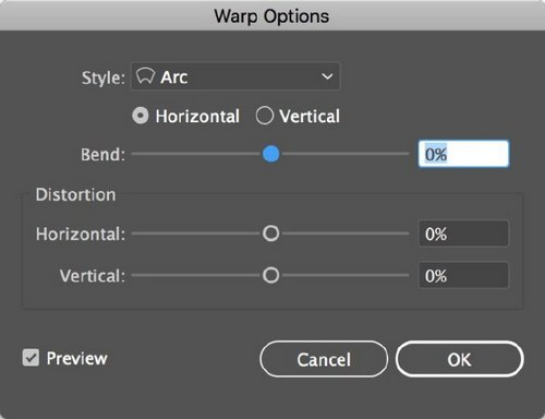 The 5 Best Illustrator Warp Effects to Transform Your Typography - Warp Options