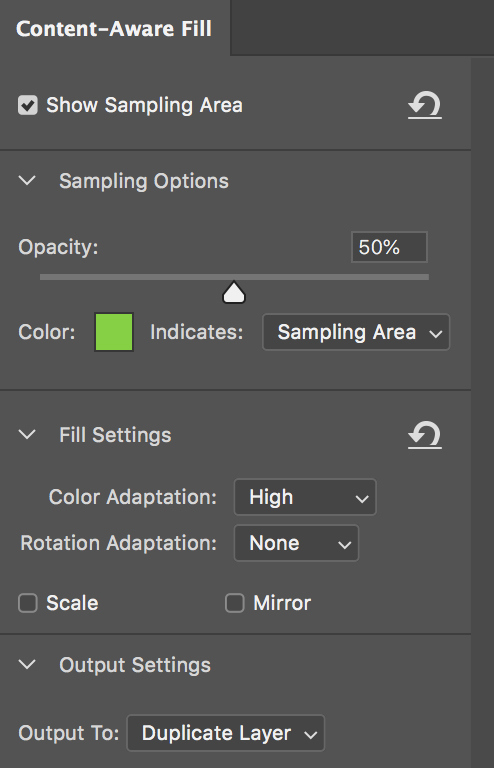 Why the New Photoshop Content-Aware Fill Is Insanely Powerful - Sampling Area