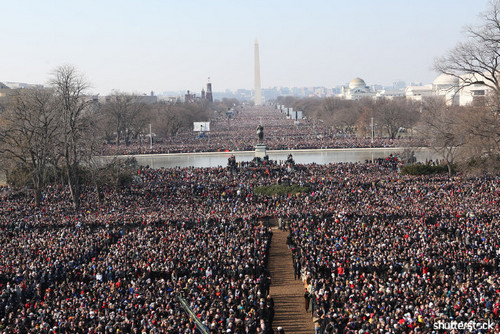 Incredible Moments from Super Bowl History, In Pictures — Crowd on the National Mall for Obama's Inauguration