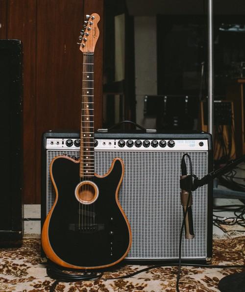 The Fender Acoustasonic Telecaster in black.