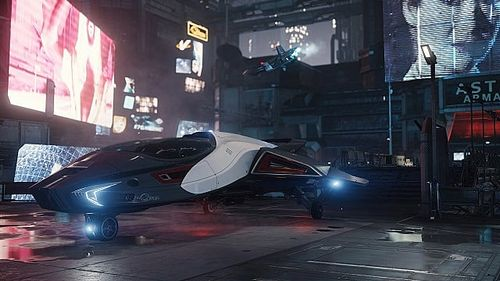 A docked ship in Star Citizen