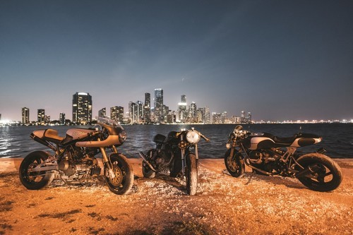 (Left to right) The Racer 5, aDucati that weighs only 320 lbs with a potent 88 BHP; The Moto Tuerto, a 90 BHP Moto Guzzi-based,low-slung beast; TheHigh Roller, which has more than 100 BHP and magnesium wheels.