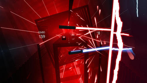 There are few rhythm games like Beat Saber, available on PSVR, Vive, and Rift.