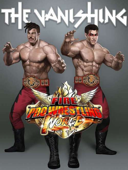 The teaser image for the Fire Pro Wrestling World DLC, a story scenario starring the tag-team The Vanishing.