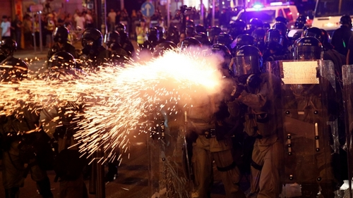 Riot police clash with anti-extradition demonstrators, after a march to call for democratic reforms in Hong Kong, China July 21, 2019