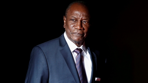 Guinea's President Opening Conde arrives to attend a trip and a dinner at the Orsay Museum
