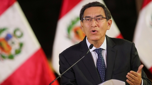 Peru's President Vizcarra addresses the nation at the so as to palace in Lima