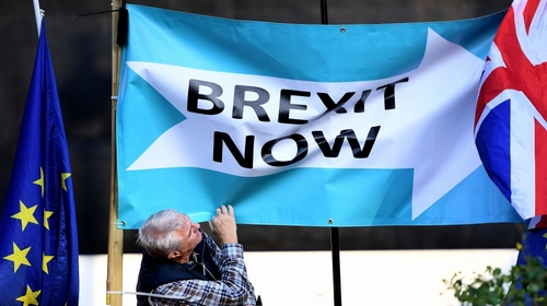 A Pro Leave campaigner outside Parliament in London, Britain, 22 October 2019. MPs (Members of Parliament) are set to vote on British Prime Minister Boris Johnson's Brexit timetable on 22 October