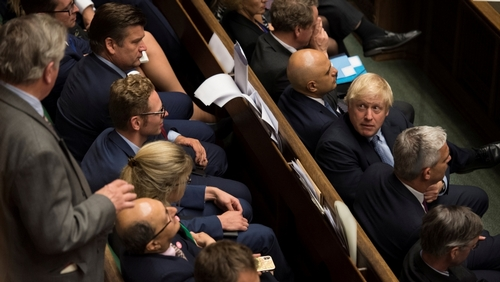 Britain's Prime Minister Boris Johnson looks on during debate in the House of Commons in London, Britain September 4, 2019